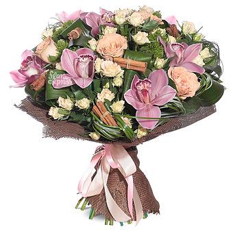 Букет Волшебнице сердца: Розы и орхидеи