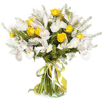 Букет Нежные ирисы: Белые ирисы и розы