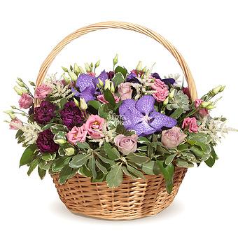 Букет Корзина с орхидеей и лизиантусом